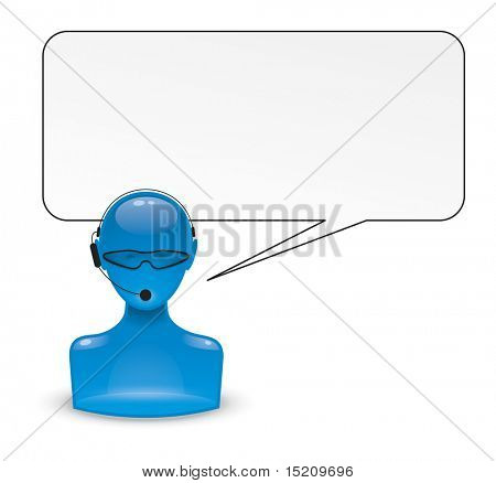 An image of a blue man icon with a head set
