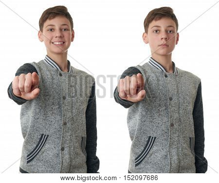 Set of cute teenager boy in gray sweater pointing forward over white isolated background, half body