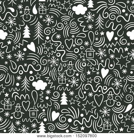 seamless Christmas pattern, black and white graphic