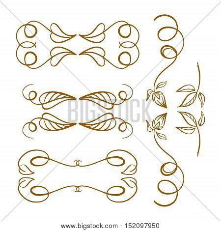 Set of elegant gold floral elements for your design