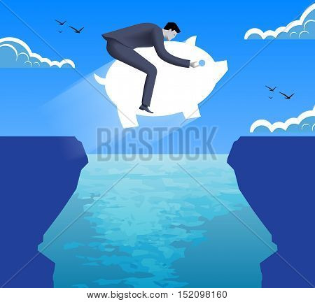 Riding on savings on crisis time business concept. Confident businessman in business suit jumps on piggy bank over abyss between two cliffs. Vector illustration. Use as template logo background.