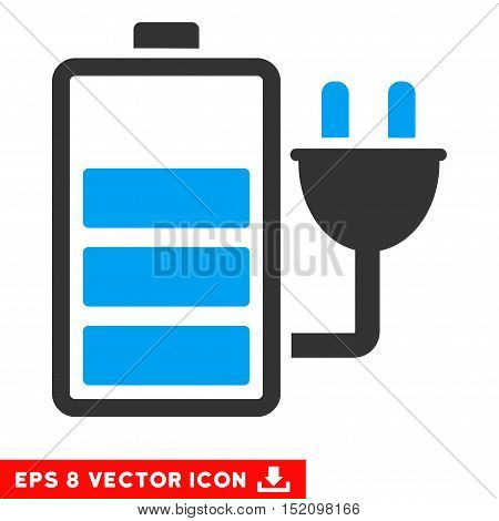 Charge Battery EPS vector pictogram. Illustration style is flat iconic bicolor blue and gray symbol on white background.