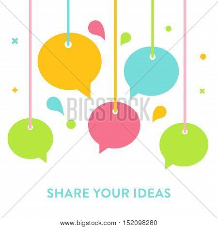 Speech Bubbles Hanging on Strings. Communication, Sharing Ideas, Speaking and Socializing Concept. Vector Illustration