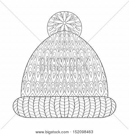 Winter knitted cap in zentangle, tribal monochrome style. Hand drawn Christmas decorative elements for adult coloring book. Vector illustration for New Year 2017.