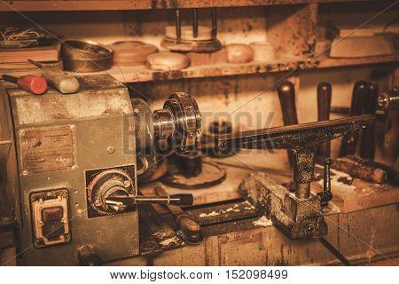 Close-up of the carpenter tools in restorer workshop