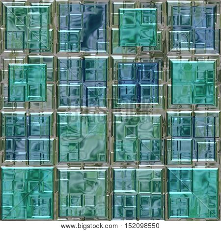 blue and green colored glass square mosaic pattern texture seamless background