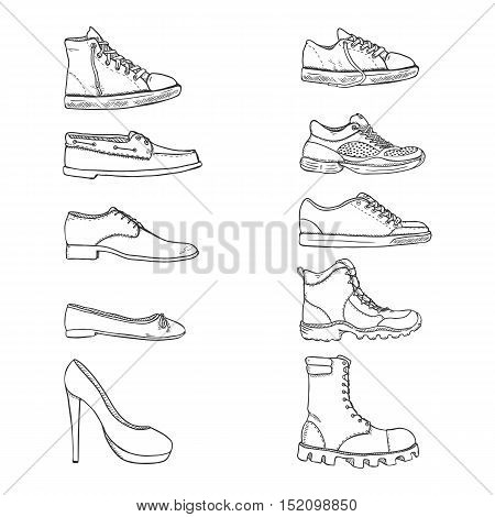 Vector Set Of Sketch Shoes Items. Side View Collection