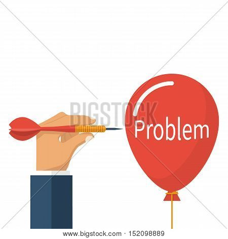 Problem solving business concept. Sharp dart in businessman hands prick a balloon. Vector illustration flat design. Isolated on white background.
