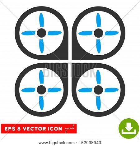 Copter EPS vector pictograph. Illustration style is flat iconic bicolor blue and gray symbol on white background.