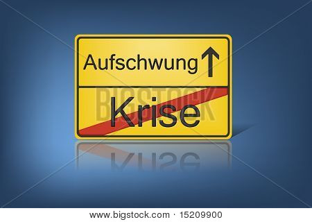 An image of german road sign crisis