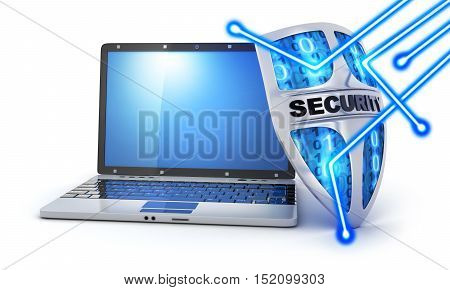 Shield antivirus and laptop abstract (done in 3d rendering)