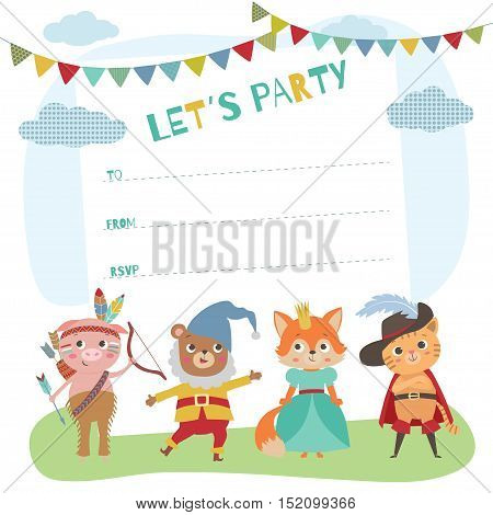 Birthday card with cute little animals. Card invitation for costume party. Animal kids in different costumes