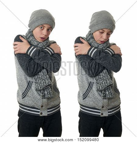 Set of cute teenager boy in gray sweater, hat and scarf trying get warmer with crossed arms over white isolated background, half body