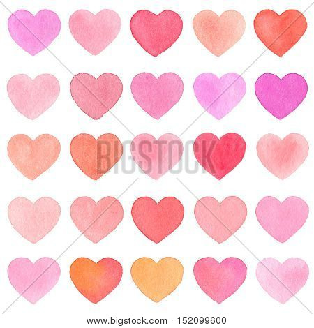 Watercolor Heart Pattern On White Background.