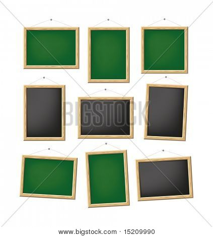 A set of blank green and black boards