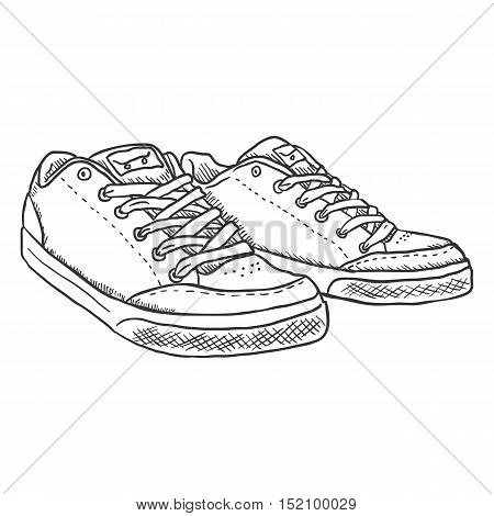Vector Sketch Illustration - Pair Of Skaters Shoes