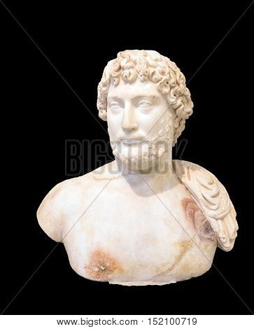 Marble portrait bust of the emperor Hadrian, found in the temple of the Olympieion, Athens (130 AD).