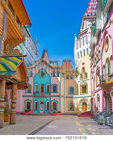 The bright colors and unusual architecture of modern museums restaurants and art galleries of Izmailovsky Kremlin Moscow Russia.