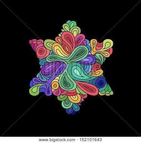 Doodle style colorful hexagram illustration. Colorful zentangle hexagram sketch. Hexagram tattoo sketch. Ethnic wavy six points star vector illustration on black.