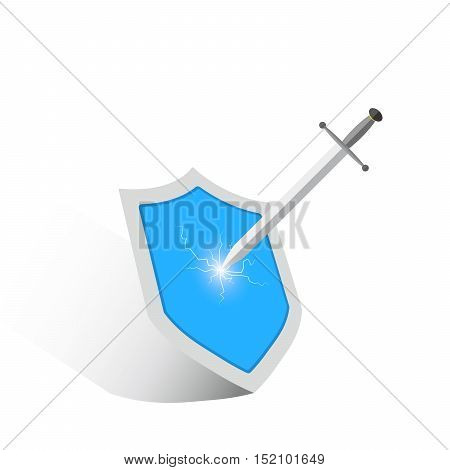 The concept of protection and attacks. Sword strikes the shield. Shield and sword in flat design. Vector illustration.