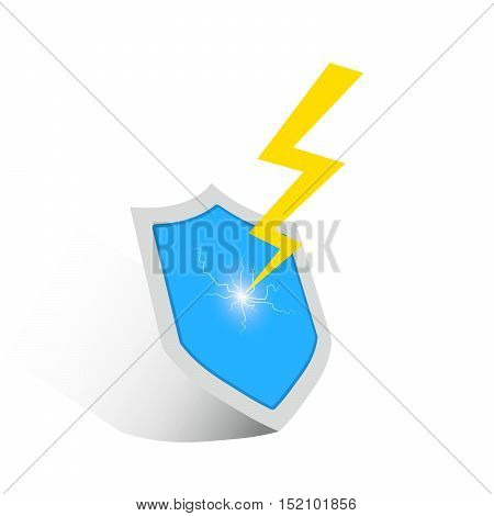The concept of protection. Lightning strikes the shield. Shield and lightning icon. Vector illustration.