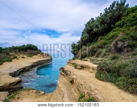 Sidari north coastline on Corfu Greek island