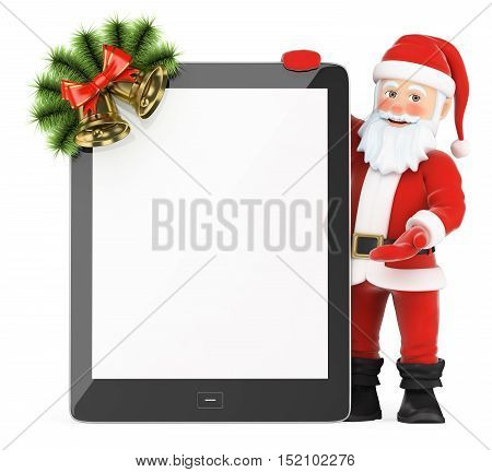 3d christmas people illustration. Santa Claus with blank screen tablet. Isolated white background.