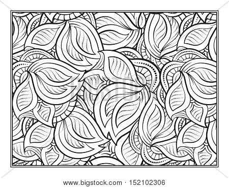 Vector leaves abstract pattern page for antistress coloring