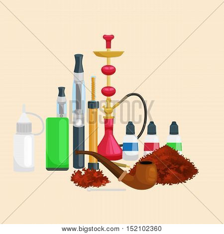Smoking tobacco decorative icons set with cigarettes hookah cigars alcohol lighter on brown background isolated vector illustration