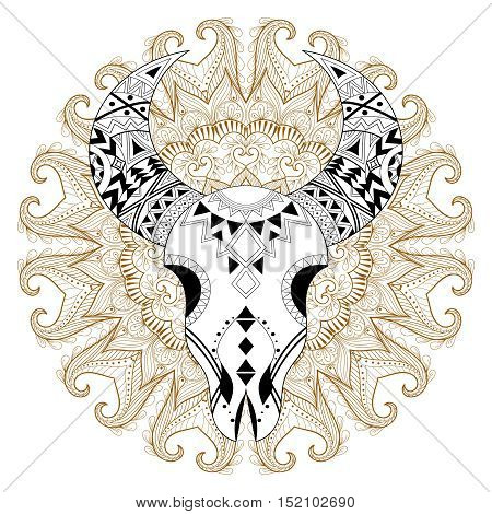 Zentangle stylized Animal Skull on gypsy mandala. Freehand vector ethnic henna illustration for adult anti stress coloring pages, art therapy, bohemian tattoo style, t-shirt print.