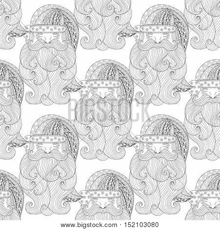 Fancy Santa seamless pattern, zentangle style. Freehand ethnic Xmas sketch for adult coloring book. Ornamental artistic vector illustration for Merry christmas cards. New Year 2017 collection.