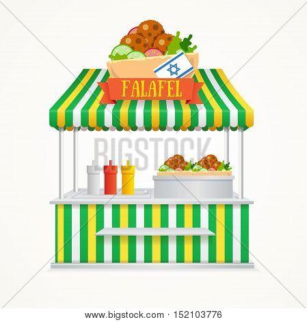 Falafel Street Market. Fast Food Kiosk. Traditional Cuisine with the Flag of Israel. Vector illustration