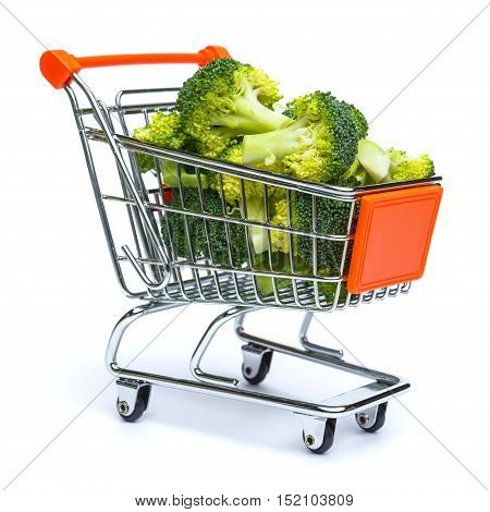 mini shopping cart full with broccoli isolated on white background