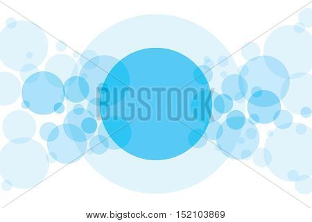 Crossing circles abstract background. Sky blue transparent bubbles randomly placed on white and one big circle with room for your text or symbols. Easy editable vector eps10 illustration.