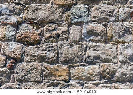 Background from an rough brown natural stone wall