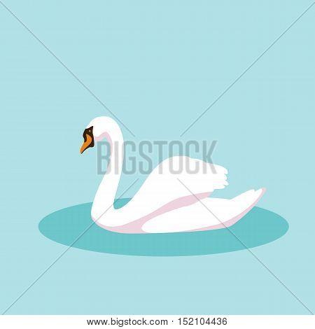 swan vector illustration style Flat profile side