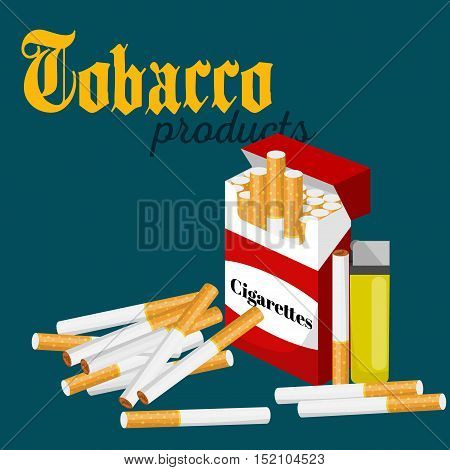 smoking tobacco cigarette with filter in red box and lighter vector illustration.