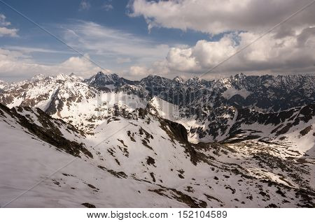 Beautiful scenery of the great snowy mountain peaks