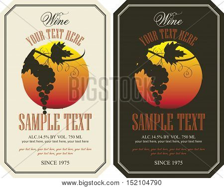 vector labels for wine with grapes in retro