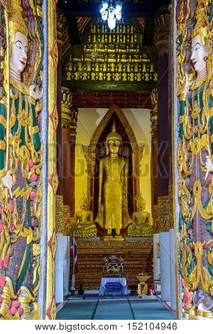 Buddha Image at Boon Yuen temple of Nan the northern province of Thailand.