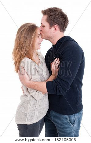 Man Kissing Her Beautiful Lady On Forehead