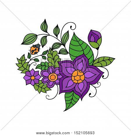 Colorful zentangle floral doodle sketch. Purple flowers and leaves vivid tattoo sketch. Ethnic tribal floral illustration