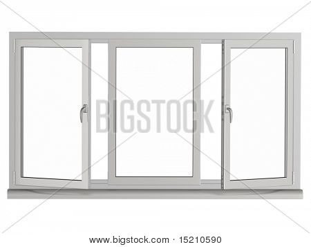 two layers and three frame plastic window with two opened  frame - isolated on white
