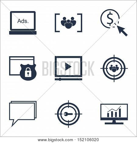 Set Of Advertising Icons On Conference, Ppc And Market Research Topics. Editable Vector Illustration