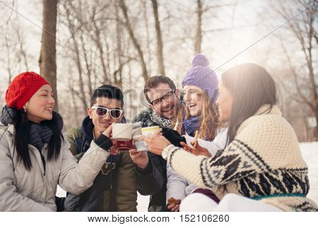 Group of millenial young adult friends enjoying wintertime and in a snow filled park