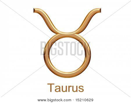 taurus - golden astrological zodiac symbol isolated on white
