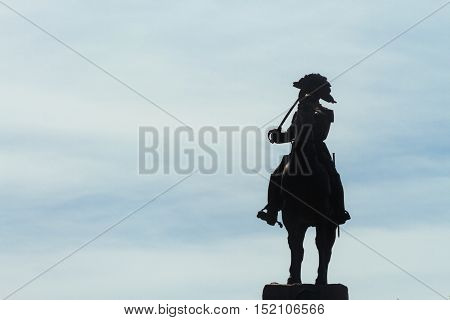 Silhouette of the statue of General San Martin in Buenos Aires Argentina