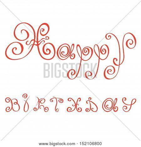 greetings made with red letters the florid vector / happy birthday