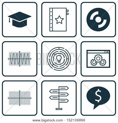 Set Of 9 Universal Editable Icons For Human Resources, Computer Hardware And Education Topics. Inclu