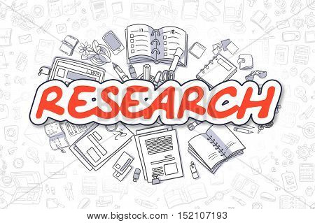 Research Doodle Illustration of Red Text and Stationery Surrounded by Doodle Icons. Business Concept for Web Banners and Printed Materials.